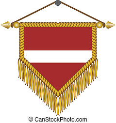 vector pennant with the flag of Latvia - vector pennant with...