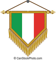 vector pennant with the flag of Italy - vector pennant with...
