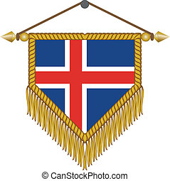 vector pennant with the flag of Iceland - vector pennant...