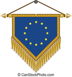 vector pennant with the flag of European Union - vector...