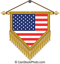 vector pennant with the flag of USA America - vector pennant...