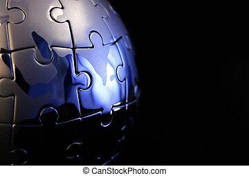 Globe jigsaw completed - Globe jigsaw completed with blue...