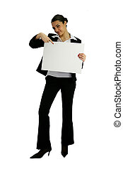 businesswoman holding an ad board