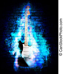 flime guitare - elictric guitare in blue flames on a wall...