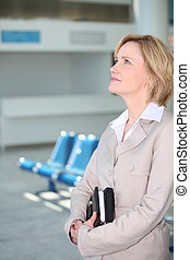 Businesswoman waiting at airport