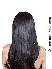Rear view of girl with black silky hair, isolated on white...