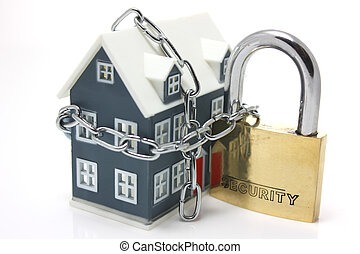 House Security - House and padlock on white background