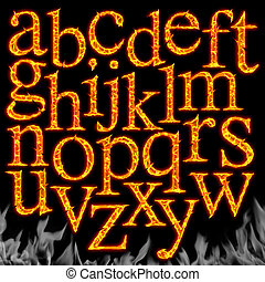 Set of Fiery letters isolated