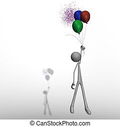 flying figure with balloons