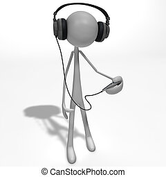 figure listening to music - a figure is listening to the...