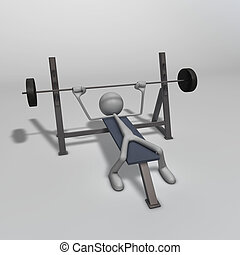 Weight Bench - a figure is training on a weight bench