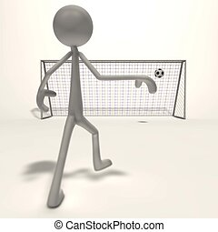 figure shoots for goal - a figure after the shot for the...