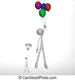 figure flies with balloons