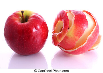 Two apples, one is peeled on white background