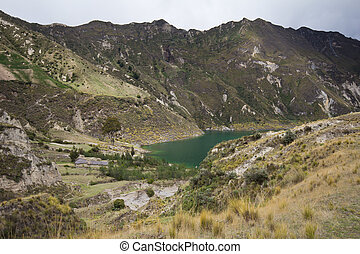 Quilotoa Lake - Quilotoa crater lake and paramo vegetation,...