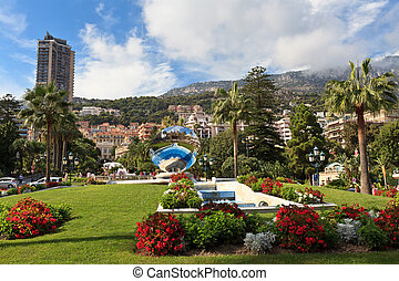city of Monaco - garden and fountain near the Casino in...