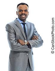 portrait, séduisant, Afro-américain, homme affaires