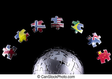 Global business concept - Jigsaw globe with peices with...