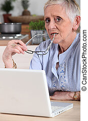 Confused old lady with laptop