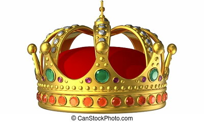 Golden royal crown - Rotating golden royal crown isolated on...