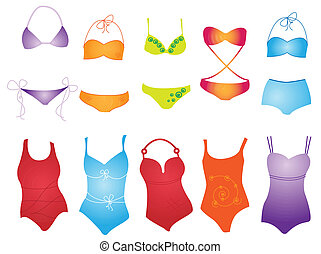 swimsuit - different swimsuit on white background