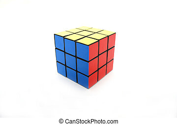 Magic Cube Puzzle on white background.