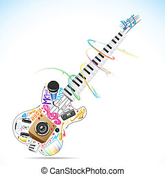 Musical Guitar - illustration of music doddle in shape of...