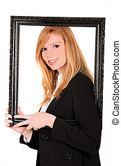 smiling young blonde holding frame