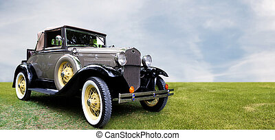Retro car. - Old style retro car. Antique auto.