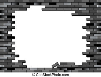 Brick wall collapsed black - Put your text or picture behind...