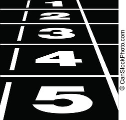 Running track black - Vector of start or finish position on...