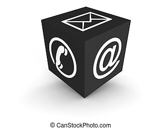 Communication Cube grey - 3d rendered cube with most...