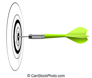 dart and target - goal or objective - one green dart hitting...