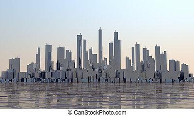 Sunrise city panorama with ocean