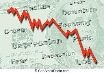 economía, recesión, concepto