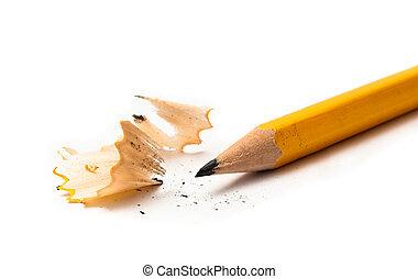 agudo, amarillo, lápiz, aislado