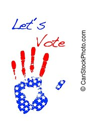 Let?s vote. - Isolated blackboard with hand USA.