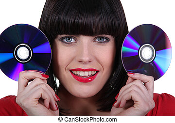 brunette with CDs