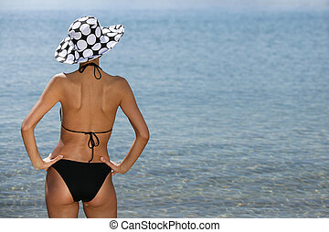Woman in swimsuit, back view