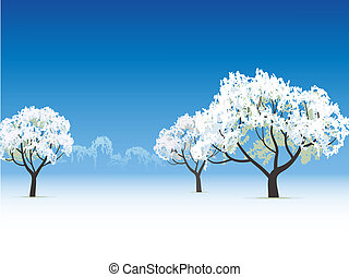 frozen tree snow covered - vector winter view frozen tree...
