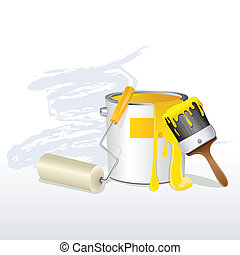 Paint Bucket and Brush - illustration of paint bucket with...