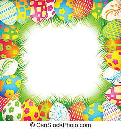 Easter Background - illustration of colorful painted egg in...