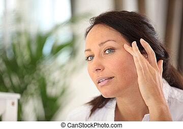 mujer, esparcimiento, afuera, cosmético, crema, ella,...