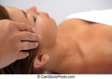 frau, Annahme,  massage