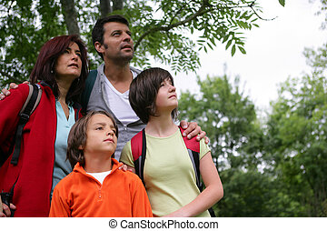 a family in the forest looking up