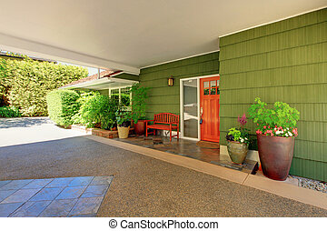 Front door and green house with nice curb appeal. - Summer...