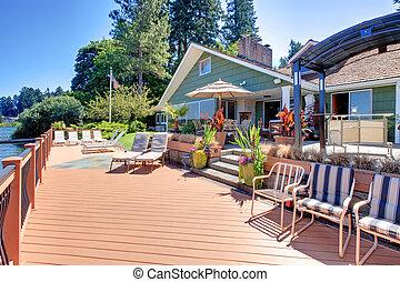 lago, fron, casa, grande, cubierta, Al aire libre, vida,...
