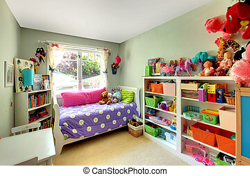 meninas, quarto, muitos, brinquedos, roxo, cama