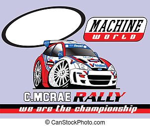 rally car - illustration for printed shirt and poster