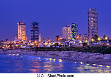Tel Aviv Skyline - Skyline of Tel Aviv, Israel along the...